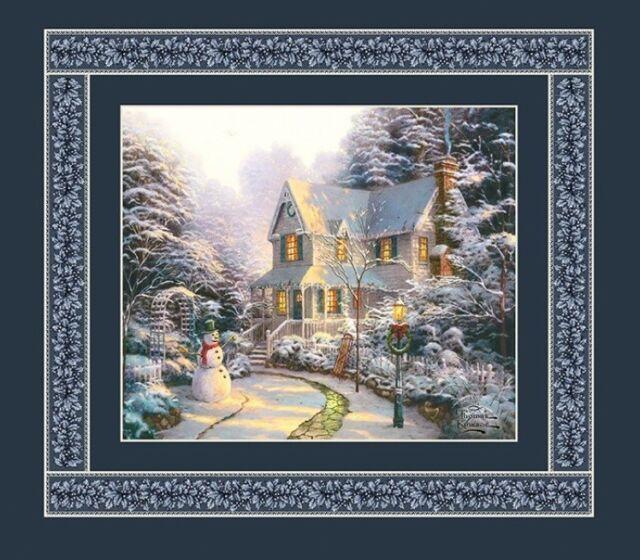 Thomas Kinkade Christmas Winter Holiday House Panel Quilt Fabric  18