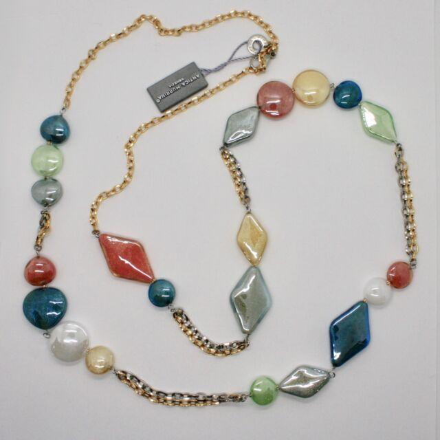 ANTICA Murrina Venezia Necklace With Murano Glass Orange Blue Yellow ...