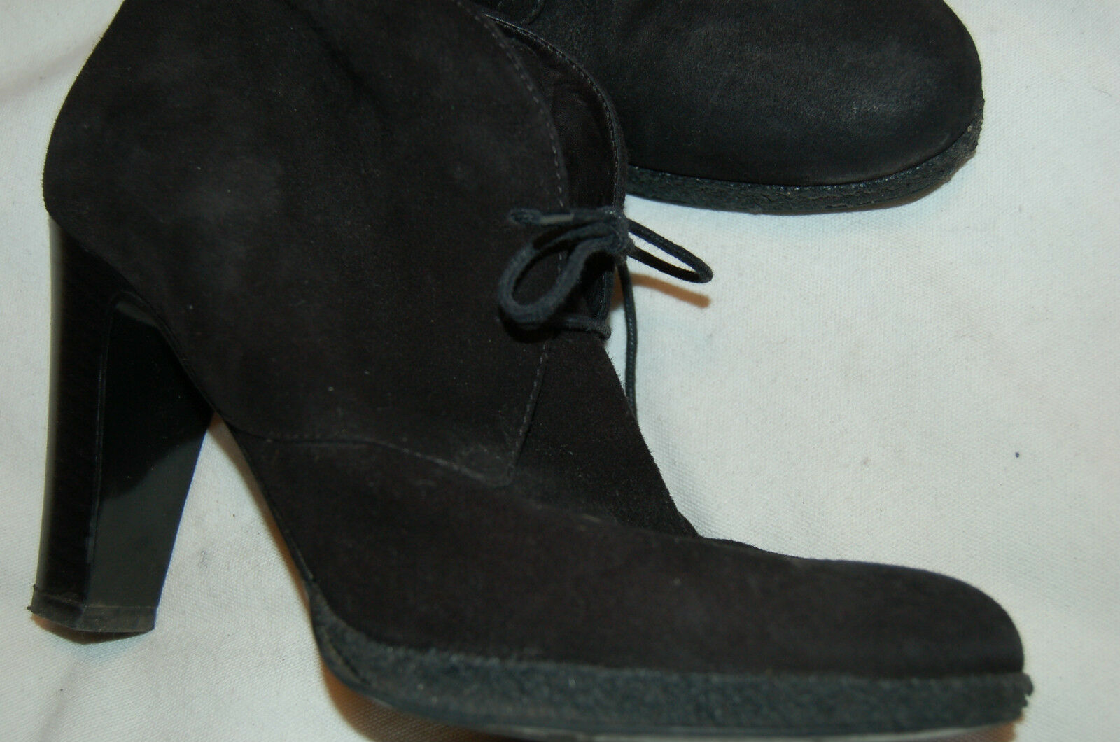 J. Crew Black Suede Ankle Lace-up Heels Boots Shoes Size 9 Made in Italy
