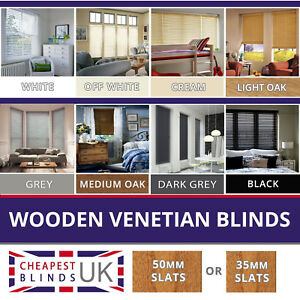 Wood Wooden Venetian Blinds Made To Measure 35mm Or 50mm Solid Wood