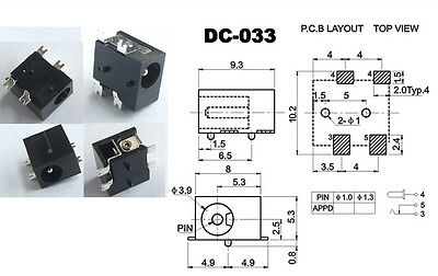 1pcs 3.4mm x 1.3mm Inline AC to DC Power Plug Connector