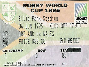 IRELAND v WALES RUGBY WORLD CUP 1995 TICKET