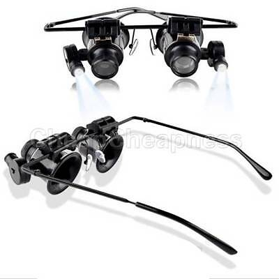 Jeweler Watch Repair LED Light20x Magnifier Magnifying Eye Glasses Loupe Lens WK