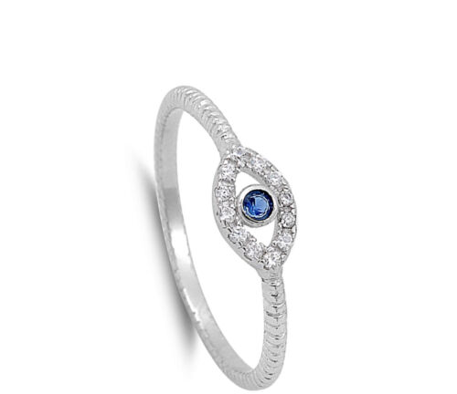 Evil Eye Blue Sapphire CZ Polished Ring New .925 Sterling Silver Band Sizes 3-13
