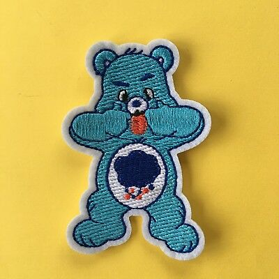 Purple Teddy Bear Chinese Fan Embroidery Patch