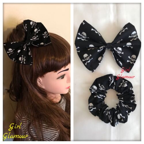 Black Skull Crossbones Fabric Hair Headband Bow Scrunchies Ponytail Pirate Tie