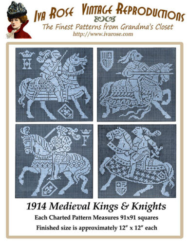 1914 Filet Lace Chart Pack of Medieval Kings /& Knights