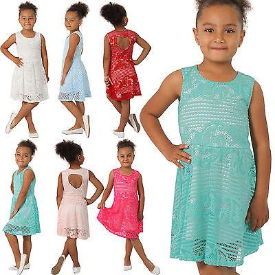 Mini Sommer Kleid Spitze Kinder Cocktailkleid Party Mädchen Paisley Party Herz