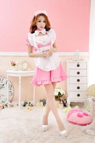 Ladies Lolita Cosplay Fancy Dress Maid Ruffle Japan Waitress Coffee Shop Costume