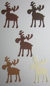 034-Chocolate-034-MOOSE-3-034-inch-Set-Lot-of-20-Handmade-punch-outs-Cutouts-U-Pick-color