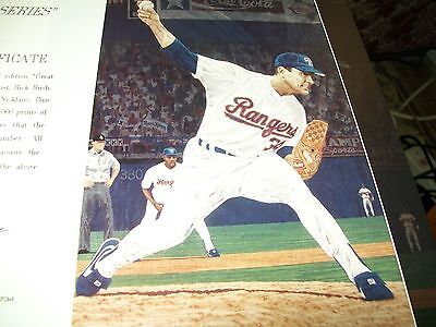 """Pitcher Perfect/"""" with Nolan Ryan Signed and Numbered Print Rick Rush /""""Rangers"""