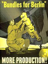 ART PRINT POSTER PROPAGANDA WWII WAR USA BUNDLES BERLIN BOMB PLANE NOFL1022
