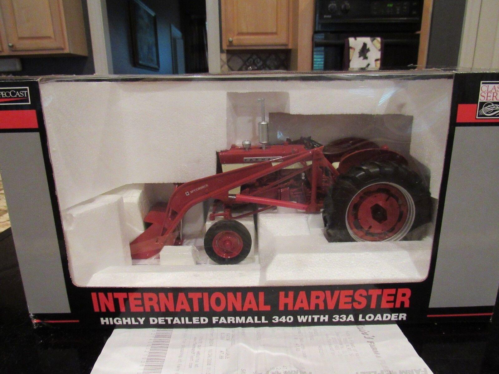 SPECCAST INTERNATIONAL HARVESTER FARMALL 340 WITH 33A LOADER NIB W RECEIPT 2008