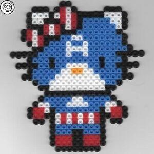 Details About Hello Kitty Captain America Bead Sprite Perler Pixel Art Perles à Repasser