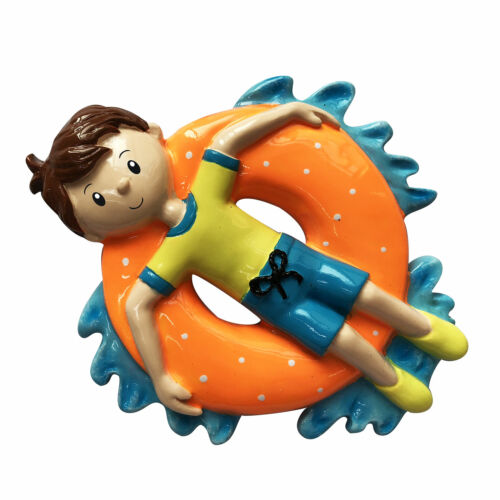 Boy on Inner Tube Personalized Christmas Tree Ornament