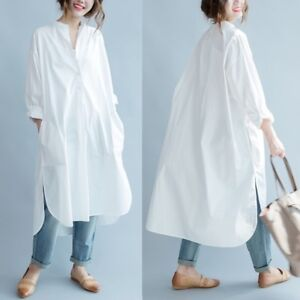 Details about White Women\'s Cotton Maxi Loose Long Button-Down Casual Shirt  Dress Plus Size