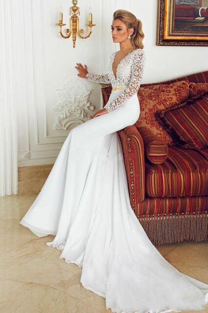 0c1e662c2e 2019 Ivory White Long Sleeves Mermaid Wedding Dress Bridal Gown Custom Size  4-2