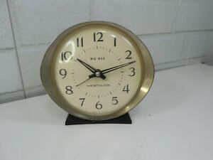 Vintage-1960s-Westclox-Big-Ben-Style-Black-Plain-Alarm-Clock-Oval-Nickel-Trim