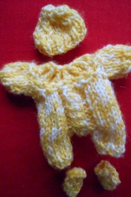 "Doll Clothes Yellow Romper Set Hand-knit Fits Baby 4.5"" 5"" by Euro Style knits"