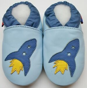soft sole leather baby shoes rocket sky blue 0-6 m first infant crib Minishoezoo