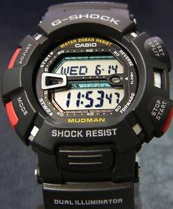 Casio-G-Shock-Mens-Digital-Wrist-Watch-Mudman-G9000-1-G9000-1V-Black-Digital-New