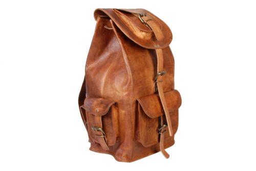 Bag Leather Goat Backpack S Men Rucksack Laptop Vintage Messenger Brown Genuine