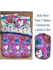 4 Piece Jojo Siwa Unicorn Bowbow Twin Single Bed In A Bag