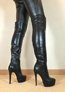 Gr-42-TOP-Exklusiv-Sexy-Damen-Schuhe-Overknee-Stiletto-Stiefel-Maenner-Boots-D6