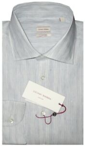 395-NEW-LUCIANO-BARBERA-HAND-MADE-COTTON-LINEN-DRESS-SHIRT-MADE-ITALY-M-15-5-16