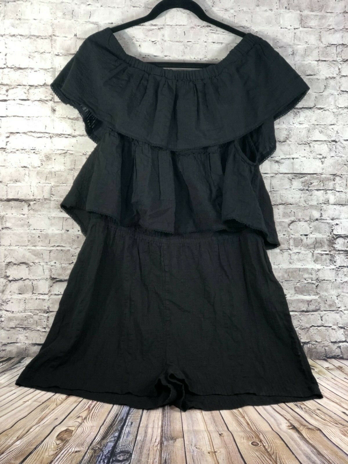 TopShop double layer ruffle off shoulder playsuit romper jumpsuit womens 12 nwt