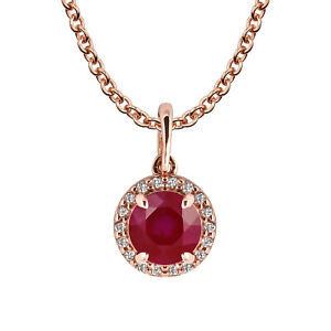 10k-Rose-Gold-Genuine-Round-Ruby-and-White-Topaz-Halo-Pendant-Necklace