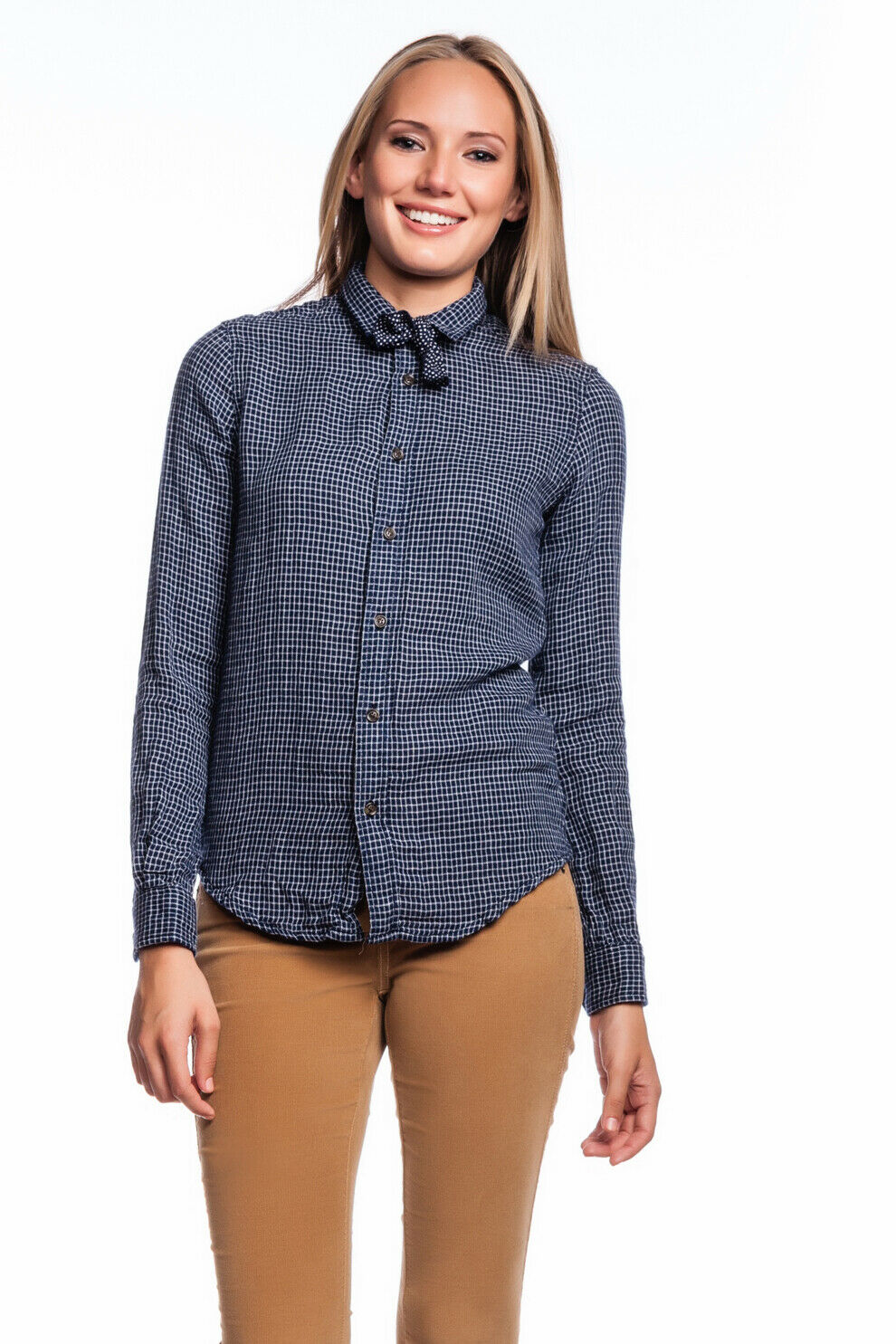 J.A.C.H.S. Lucy Shirt Blau Long Sleeves JACHS New Checkerot Button Down damen