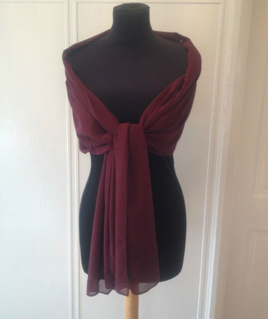 WINE/BURGUNDY CHIFFON WRAP SHAWL EVENING WEDDING CRUISE BNIP **free samples**