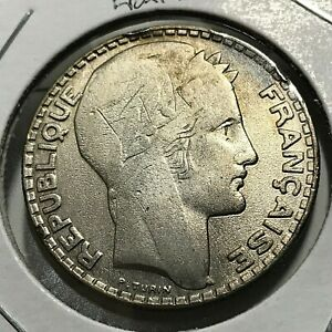 1933-FRANCE-SILVER-20-FRANCS-NICE-CROWN-COIN