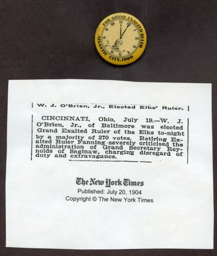 1900 Pinback William J O'Brien Jr Elks Grand Exalted Ruler VG