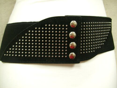 """WOMENS STYLISH ELASTIC BELT HIP FAUX LEATHER SILVER BUTTONS STUDS BLACK 38/""""-44/"""""""