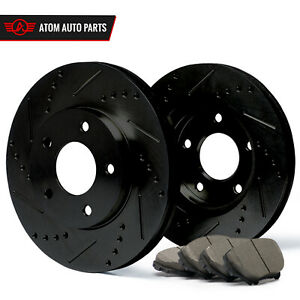 2009-2010-2011-2012-Toyota-Corolla-Black-Slot-Drill-Rotor-Ceramic-Pads-F