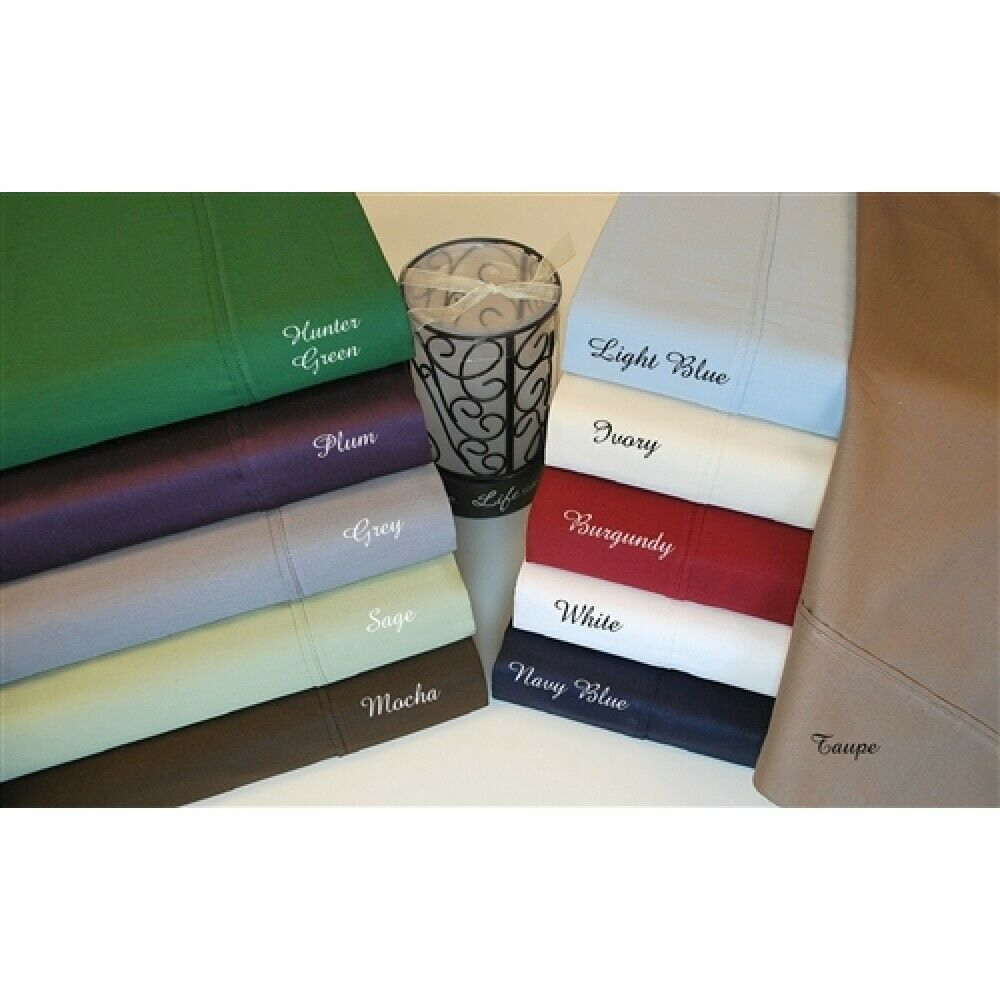 Tremendous Fitted Sheet+2 Pillow Case Egyptian Cotton Solid colors US Sizes