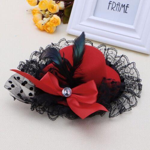 Bow Hair Clip Lace Feather Mini Top Hat Fascinator Burlesque Party Fancy Dress