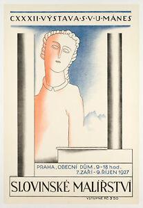 Original-Vintage-Poster-Veno-Pilon-Slovinske-Malirstvi-Praha-Prague-1927