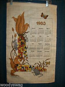 Vintage-Calendar-1983-Fall-Corn-Mice-Butterfly-Linen-Quilt-Craft-Free-USA-Ship