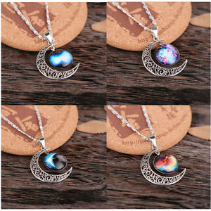 Lady-Galactic-Glass-Cabochon-Pendant-Silver-Tone-Crescent-Moon-Necklace-Hot