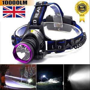 10000LM-CREE-T6-LED-Headlamp-Tactical-Headlight-Flashlight-Head-Light-Lamp-UK