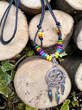 Black Cord*Ohm*Om*Hippy* Feather*Dream catcher*Wood Beads*necklace*choker*