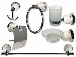 Accessori Da Bagno In Ceramica.Set Accessori Da Bagno In Acciaio Con Ceramica E Vetro Satinato Arredo 52439 Ebay