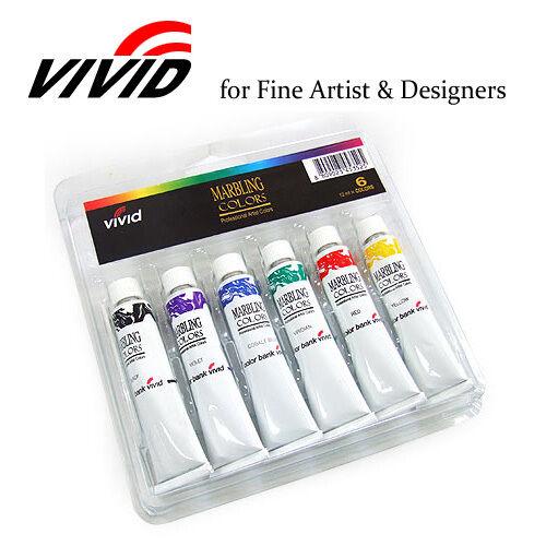 VIVID Water Marbling Art Paint Tube Dye Set 12ml - 6 Colors
