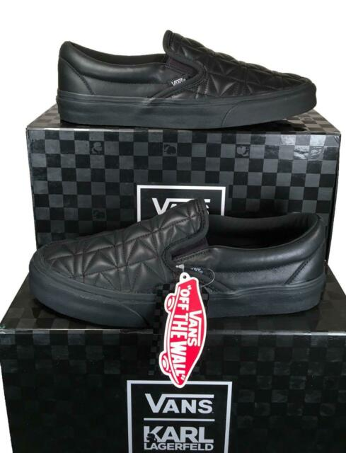 Vans x Karl Lagerfeld Classic Slip on Sneakers Shoes Quilted Leather BLACK MONO