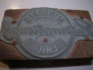 MINERALS INTERNATIONAL CHEMICALS Vintage Wood Block Printing PRINTERS Stamp