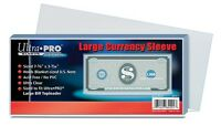 100 Ultra Pro Currency Soft Poly Sleeves - Large Bill Holder Protection Storage