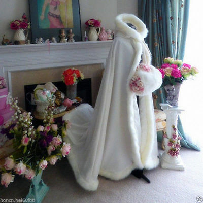 Winter Wedding Dress Bridal Hooded Long Cloak Cape Faux Fur Mantles Christmas